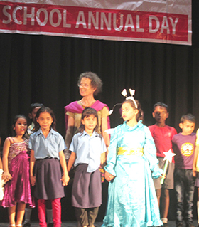Gabriela with students School Annual Day